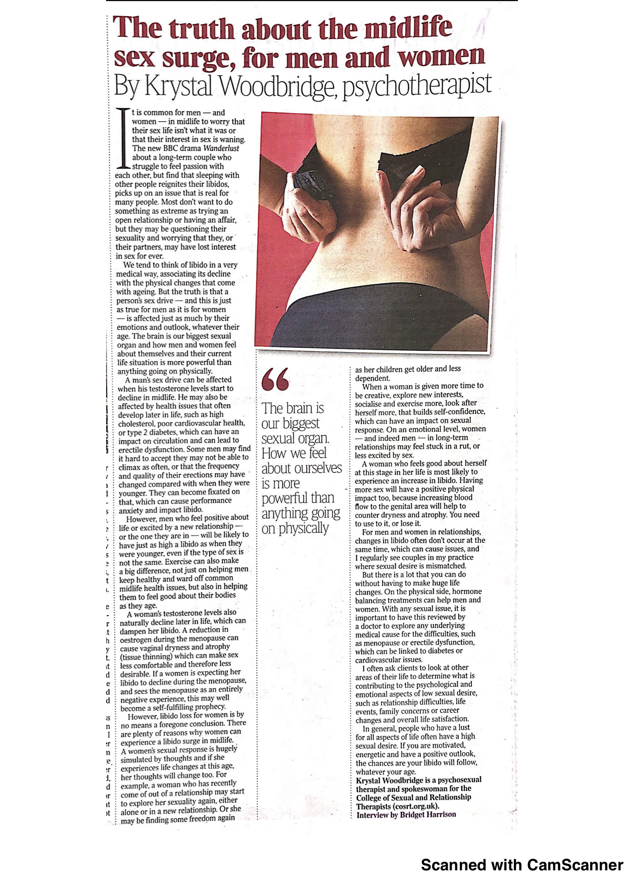Krystal woodbrisge newspaper article midlife sex surge Woodbridge Therapy Ltd Hertfordshire